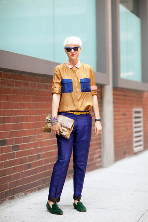 mustard shirt - navy trousers pants