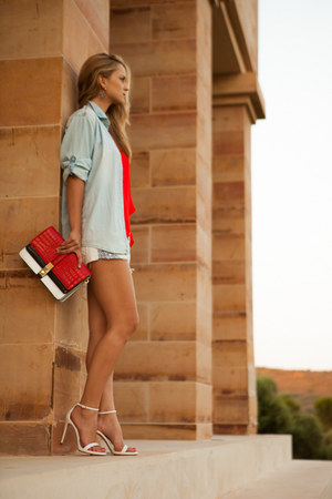 Zara shirt - Zara bag - Pull & Bear shorts - Zara top - Zara heels