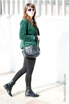 dark green Stradivarius blazer - black asos boots - black Zara leggings