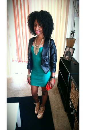 jade nude Forever21 dress - gold Charlotte Russe shoes - Forever21 blazer