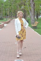 gold vintage dress - black baroc Aldo earrings - white Stradivarius wedges