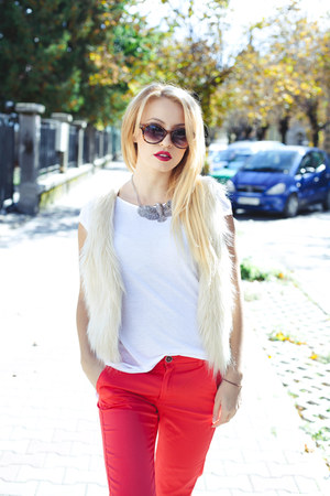 nude H&M vest - dark brown H&M sunglasses - white Zara t-shirt - red Mango pants