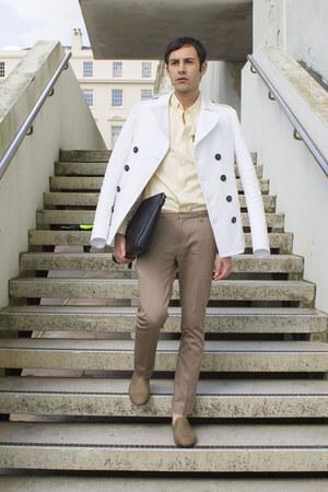 tan Zara bag - white DSquared coat - light yellow ben sherman shirt