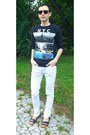 White-river-island-jeans-black-burton-sweater