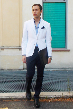 white Zara blazer - sky blue River Island shirt - black Zara bag