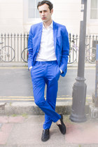 blue H&M suit - white Dolce&Gabbana shirt - black Deja flats