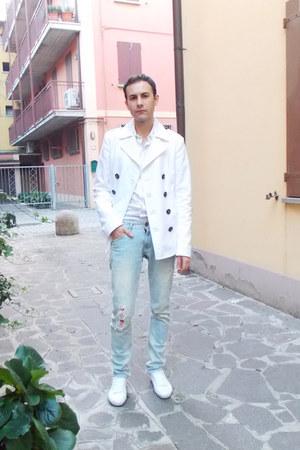 white Dsquared2 coat - silver Zara jeans - white Dolce & Gabbana shirt