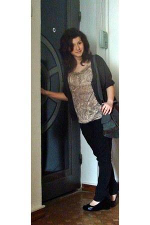 black jeans - bag - brown House of art cardigan - old top - heels