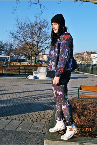 floral print H&M jacket - beanie H&M hat - floral print H&M leggings
