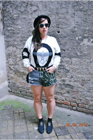 boy Sheinside sweatshirt - denimrippedcamo DIY shorts - h&amp;m divided socks