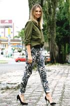 pink floral Zara pants - forest green military Zara shirt