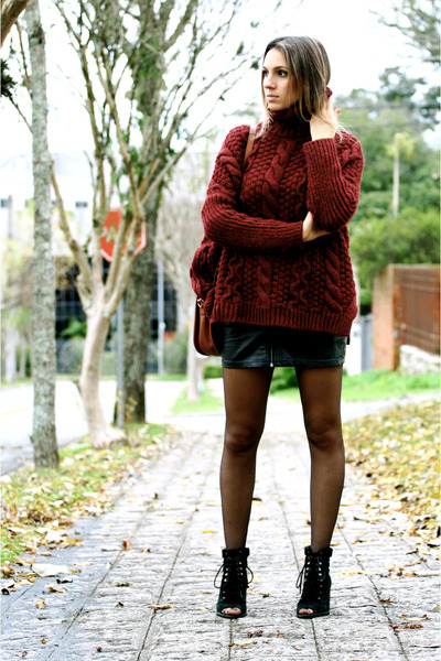 brick red burgundy wool Zara sweater - black black shoes WO shoes