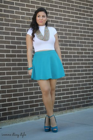 teal Forever 21 skirt - white crop top Charlotte Russe top