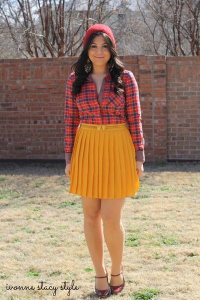 mustard Forever 21 skirt - ruby red Forever 21 hat