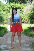 navy Forever 21 top - ruby red asos skirt - bronze michael antonio heels