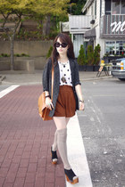 black Jeffrey Campbell shoes - black vintage blazer - brown Forever 21 shorts