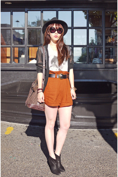 burnt orange Forever 21 shorts - black Zara boots - white H&M top