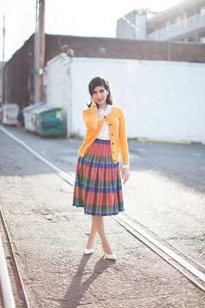 plaid vintage skirt - white Zara shoes - yellow Club Monaco sweater