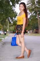 navy Forever 21 Shirt shorts - Aldo purse - brown Aldo flats