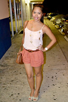 tawny Forever 21 shorts - peach H&M top