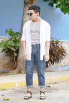 aztec choiescom top - Levis jeans - Zara shirt - romwe sunglasses