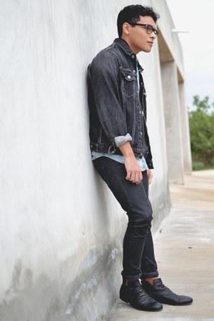 Zara boots - Zara jeans - denim Levis jacket - asos shirt