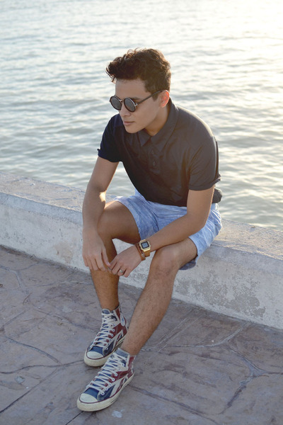 polo Reebok shirt - vintage shorts - round romwe sunglasses