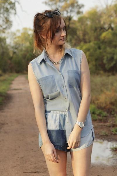light blue Somedays Lovin top - navy Somedays Lovin shorts