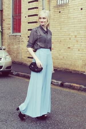 black Kmart blouse - light blue asos pants
