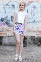 bubble gum sabo skirt shorts - silver 1989 top