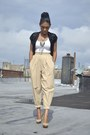 Black-sequins-forever21-jacket-dark-khaki-highwaisted-vintage-pants