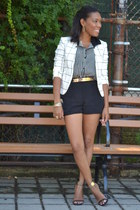 stripes Forever 21 top - geometric H&M blazer - dolphin H&M shorts