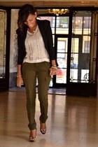 cargo pants - padded shoulder blazer - sequins top - leopard print heels