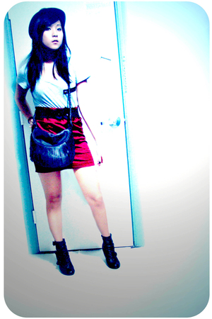 black le chateau boots - brown Urban Behaviour purse - red Forever 21 skirt - si
