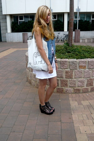 simons cat handmade bag - longtop H&M top - jeans halluber vest - H&M wedges
