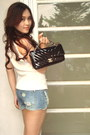 White-eclipse-top-chevron-bag-chanel-bag-blue-denim-jeans-h-m-shorts