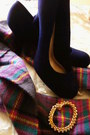 Colorful-plaid-forever-21-scarf-gold-charlotte-russe-bracelet-fioni-pumps