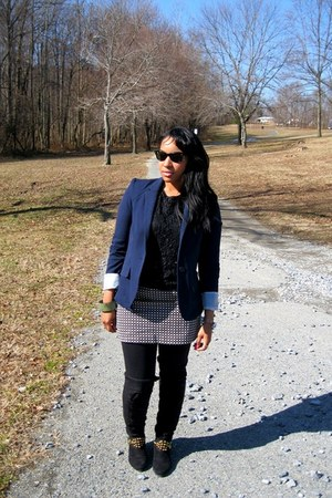 random brand boots - Forever 21 blazer - sequin and lace vintage shirt - Ray Ban