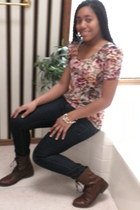 dark brown leather H&M boots - navy Forever21 jeans - bronze floral print H&M sh