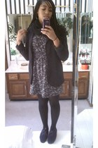 black Forever 21 blazer - light purple Forever 21 dress - deep purple TOMS shoes