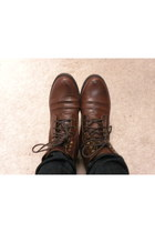 dark brown leather H&M boots