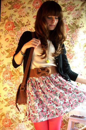 black Zara cardigan - beige Mango top - brown Zara belt - blue Zara skirt - pink