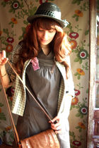 brown Stradivarius dress - blue Mango jacket - gray H&M hat - beige H&M socks -