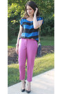 Navy-tory-burch-bag-magenta-jcrew-pants-blue-urban-outfitters-top