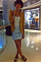 light blue skirt - mustard FAIE blazer - black studded bag Charles & Keith bag