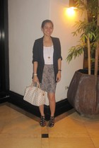 Topshop blazer - Topshop intimate - cotton on skirt - stella luna shoes - Louis
