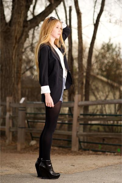 gray crepe boyfriend Ali Ro blazer - black Camilla Skovgaard boots