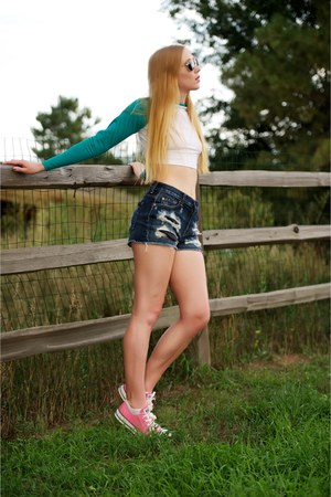 bubble gum lace up pink sneakers - navy denim high waisted shorts