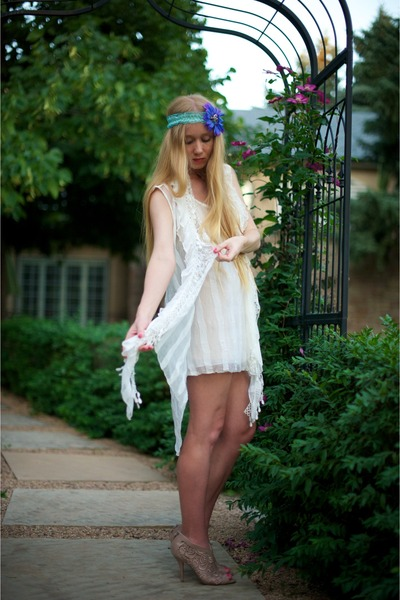 beige Givenchy shoes - white Pretty Angel Fashion dress - blue Breathe Couture a