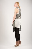 light pink brian atwood boots - white sinner rib tank RVCA dress - black ribbed